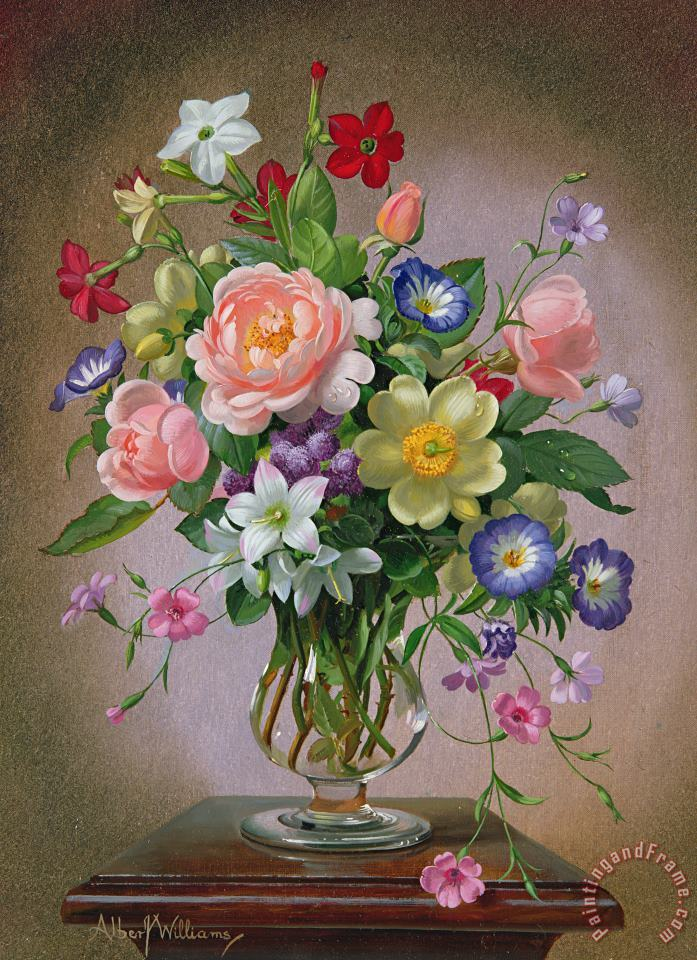 Roses Peonies And Freesias In A Glass Vase painting - Albert Williams Roses Peonies And Freesias In A Glass Vase Art Print
