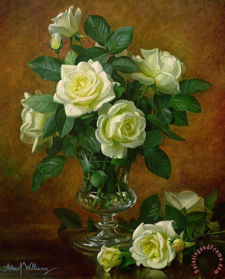 Yellow Roses painting - Albert Williams Yellow Roses Art Print