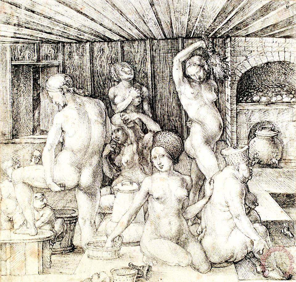 Durer Woman's Bath Drawing painting - Albrecht Durer Durer Woman's Bath Drawing Art Print