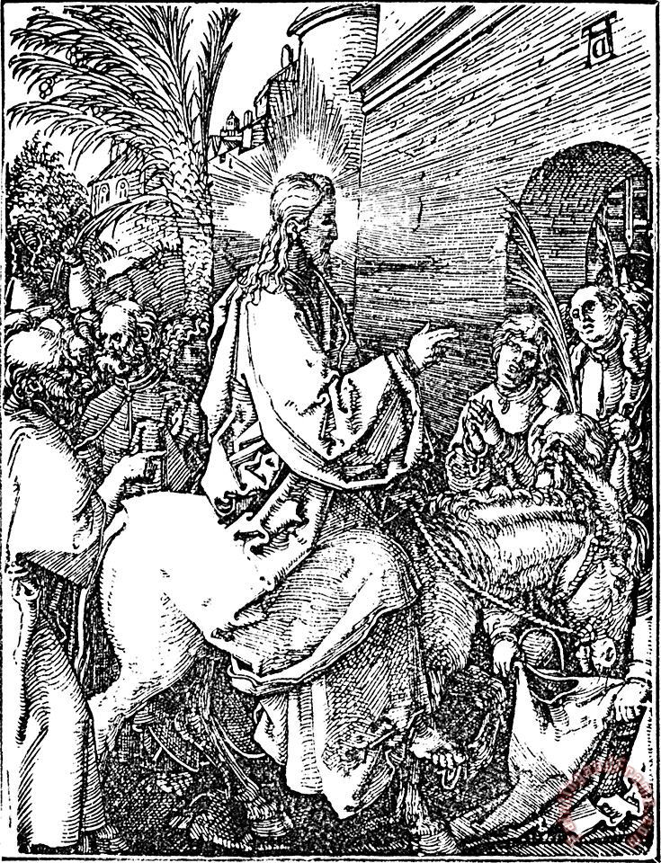 Albrecht Durer Jesus On The Donkey Palm Sunday Etching Art Print
