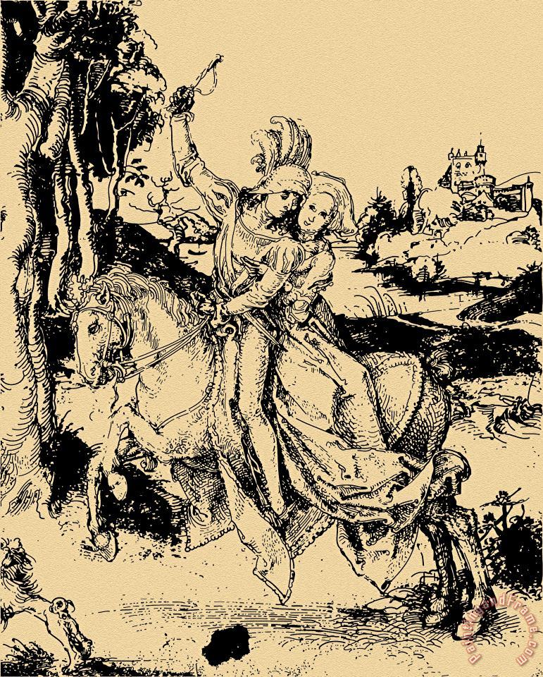 Albrecht Durer Riding Sepia Paper Art Painting