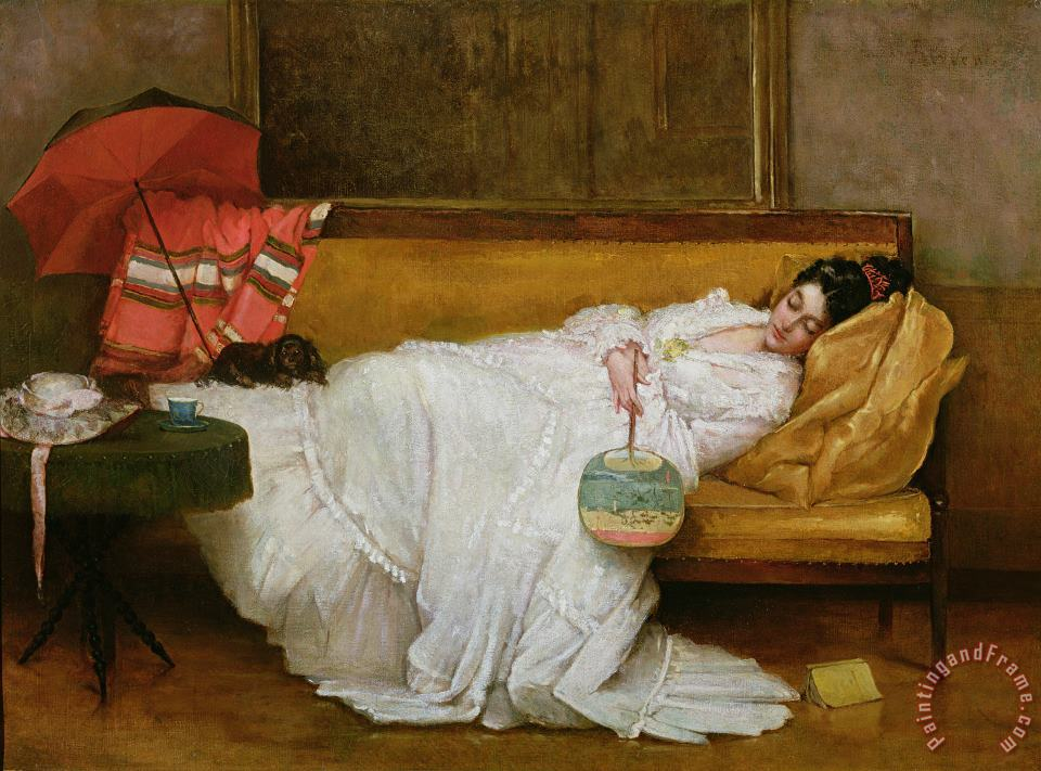 Girl in a white dress resting on a sofa painting - Alfred Emile Stevens  Girl in a white dress resting on a sofa Art Print