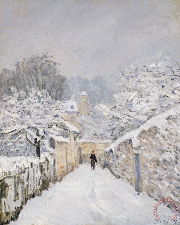 Snow at Louveciennes painting - Alfred Sisley Snow at Louveciennes Art Print