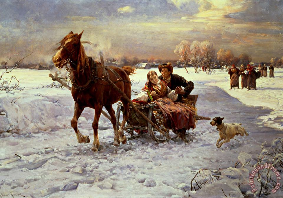 Lovers in a sleigh painting - Alfred von Wierusz Kowalski Lovers in a sleigh Art Print