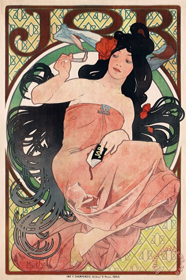 Art Nouveau Poster of Woman painting - Alphonse Marie Mucha Art Nouveau Poster of Woman Art Print