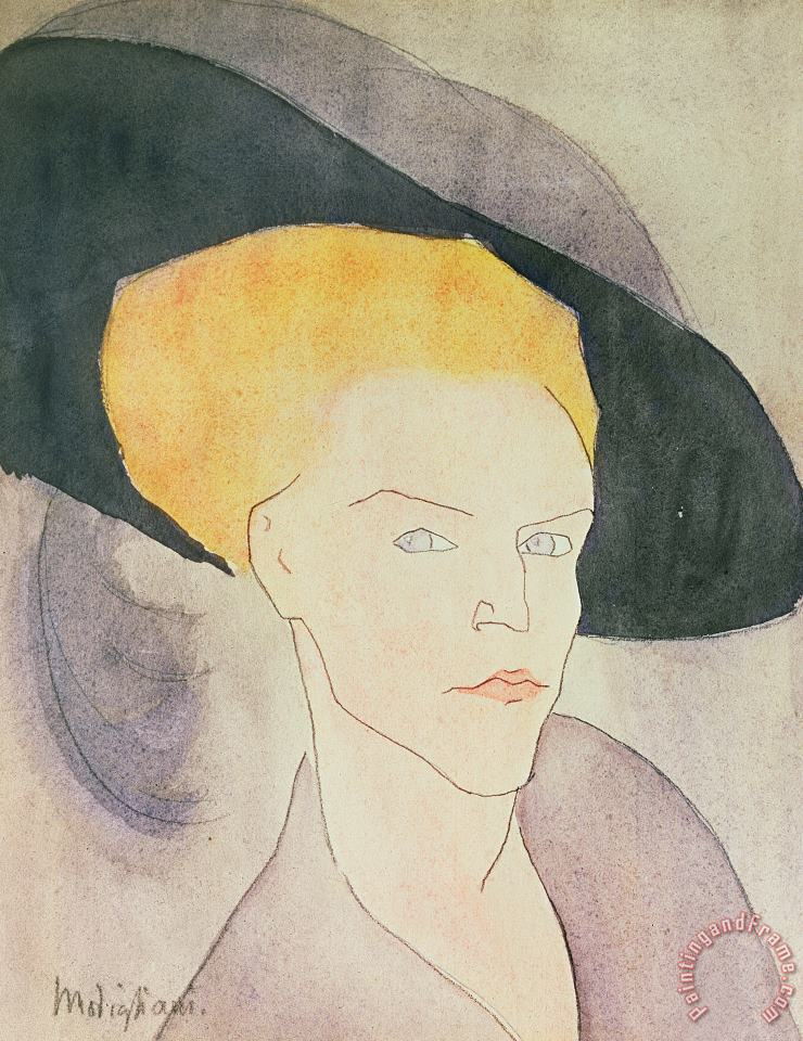 Head Of A Woman Wearing A Hat painting - Amedeo Modigliani Head Of A Woman Wearing A Hat Art Print