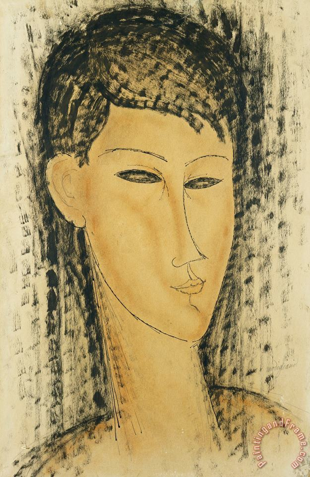 Head Of A Young Women painting - Amedeo Modigliani Head Of A Young Women Art Print