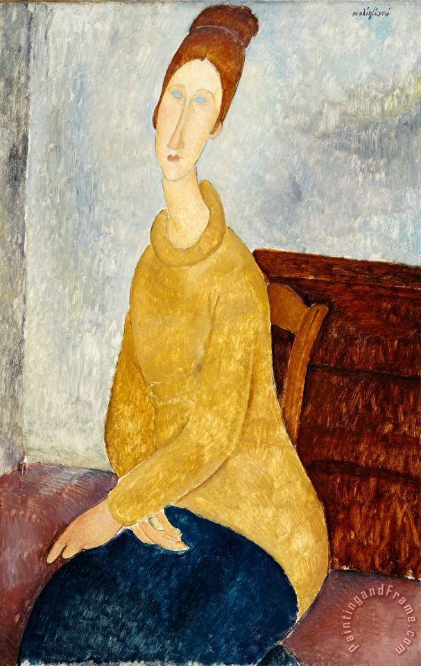 Jeanne Hebuterne with Yellow Sweater (le Sweater Jaune) painting - Amedeo Modigliani Jeanne Hebuterne with Yellow Sweater (le Sweater Jaune) Art Print