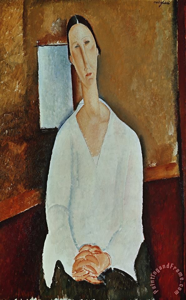 Madame Zborowska with Clasped Hands painting - Amedeo Modigliani Madame Zborowska with Clasped Hands Art Print
