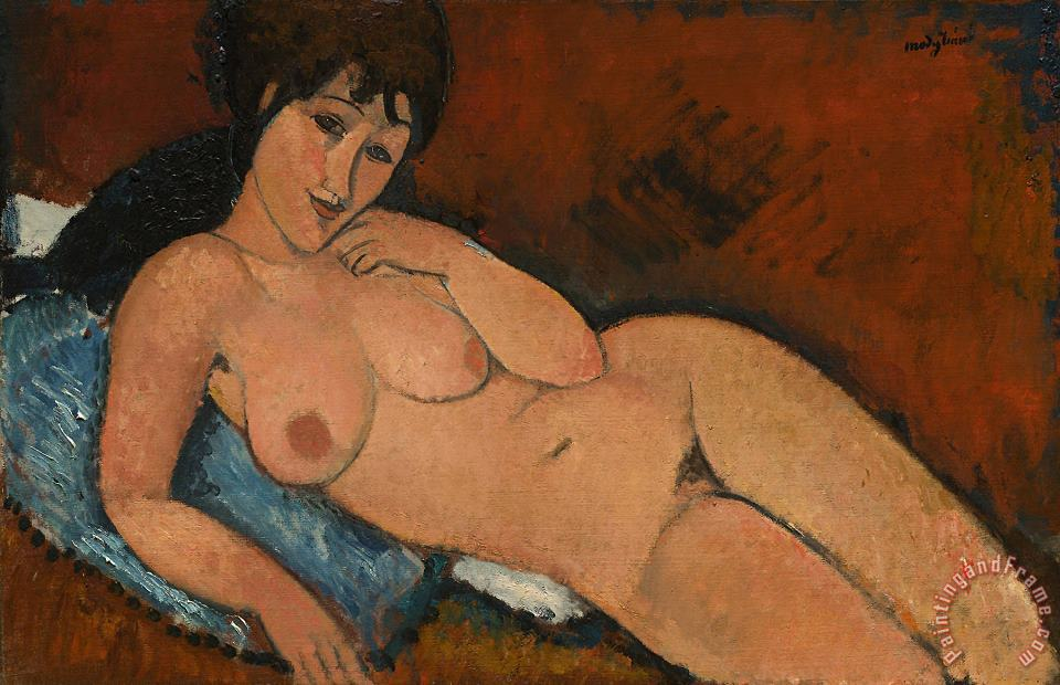 Nude On A Blue Cushion painting - Amedeo Modigliani Nude On A Blue Cushion Art Print