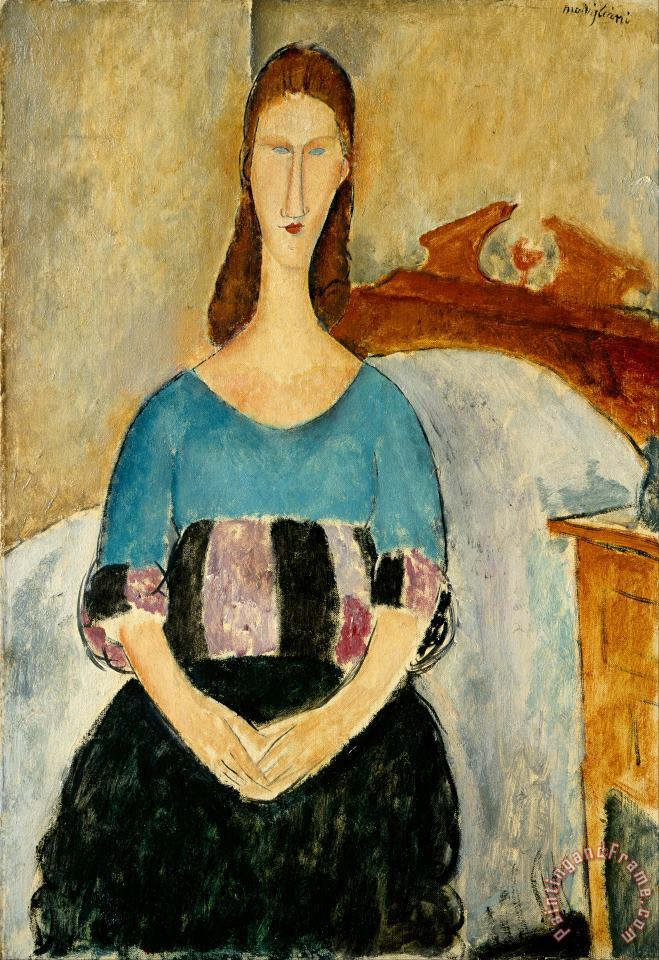 Portrait of Jeanne Hebuterne, Seated, 1918 painting - Amedeo Modigliani Portrait of Jeanne Hebuterne, Seated, 1918 Art Print