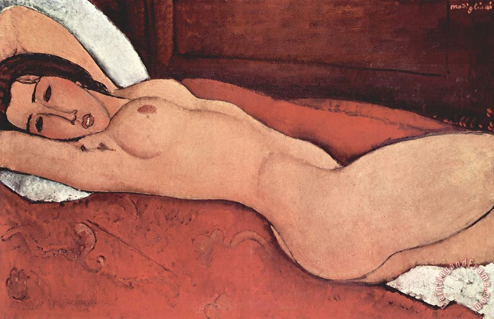 Reclining Nude With Arms Behind Her Head painting - Amedeo Modigliani Reclining Nude With Arms Behind Her Head Art Print