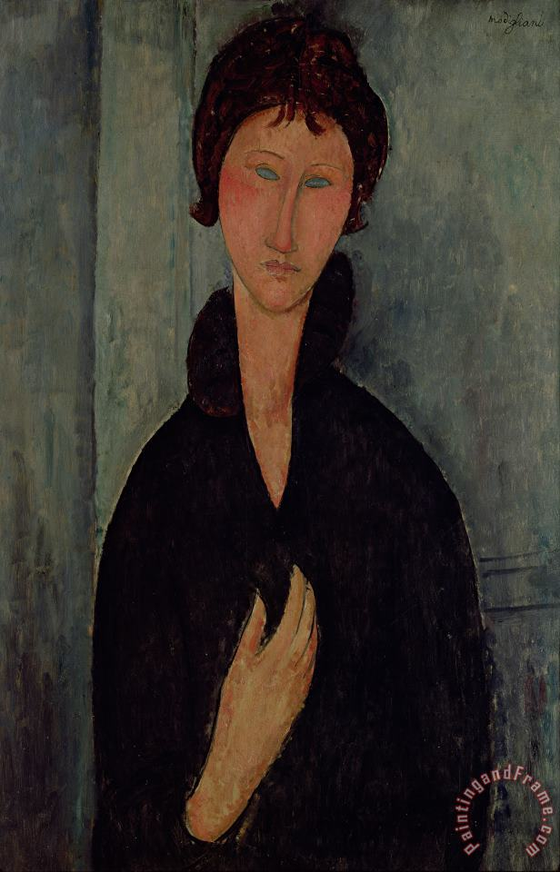 Woman with Blue Eyes painting - Amedeo Modigliani Woman with Blue Eyes Art Print