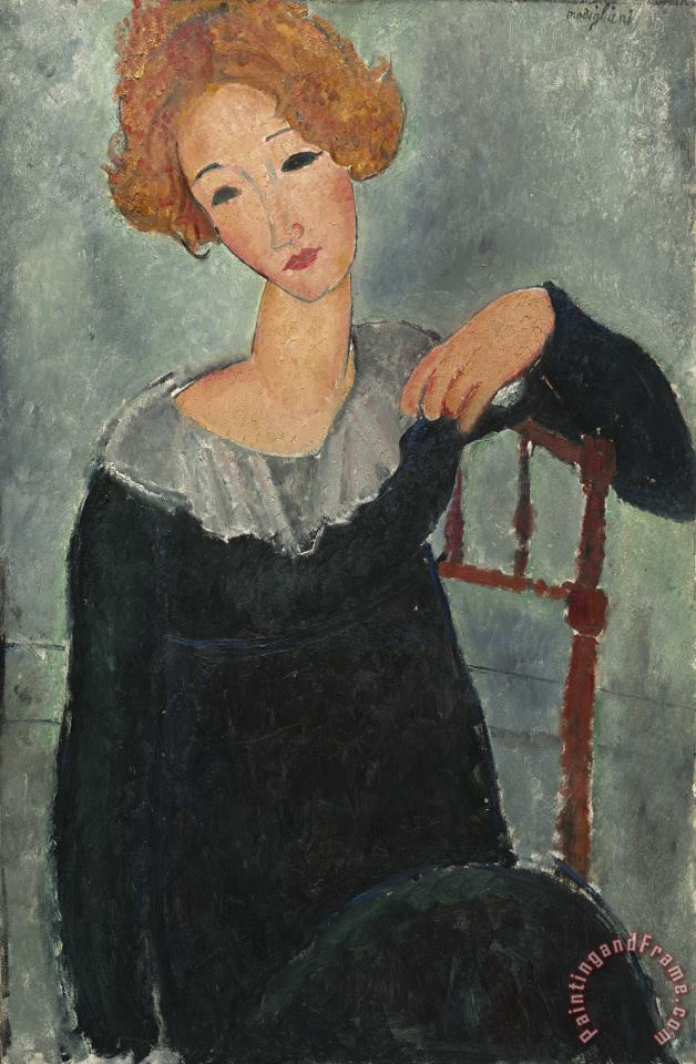 Woman with Red Hair painting - Amedeo Modigliani Woman with Red Hair Art Print