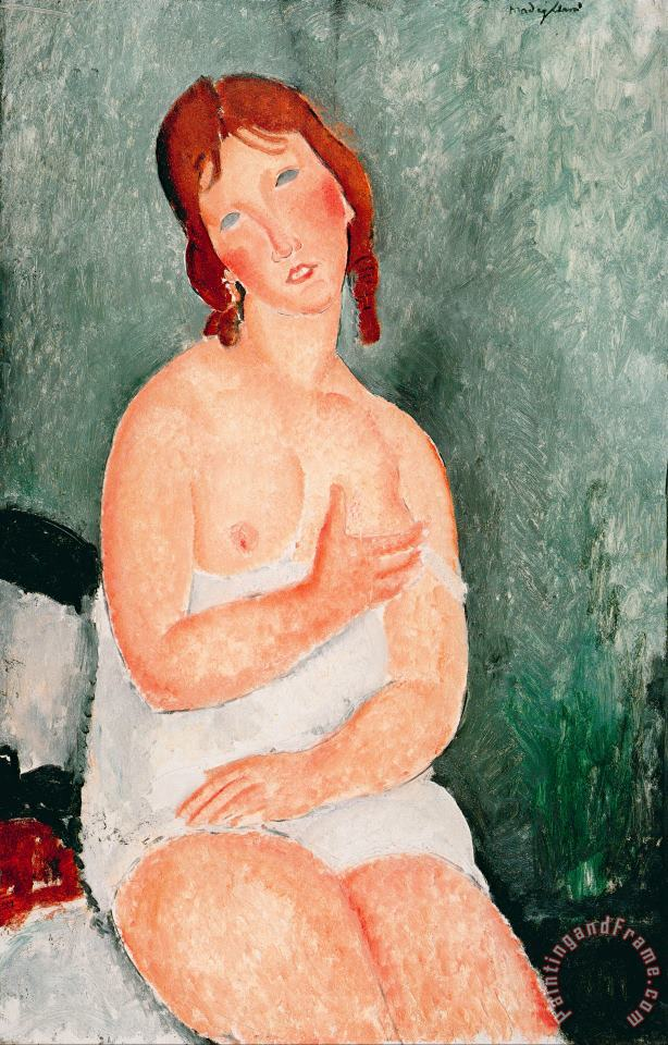 Young Woman in a Shirt, 1918 painting - Amedeo Modigliani Young Woman in a Shirt, 1918 Art Print