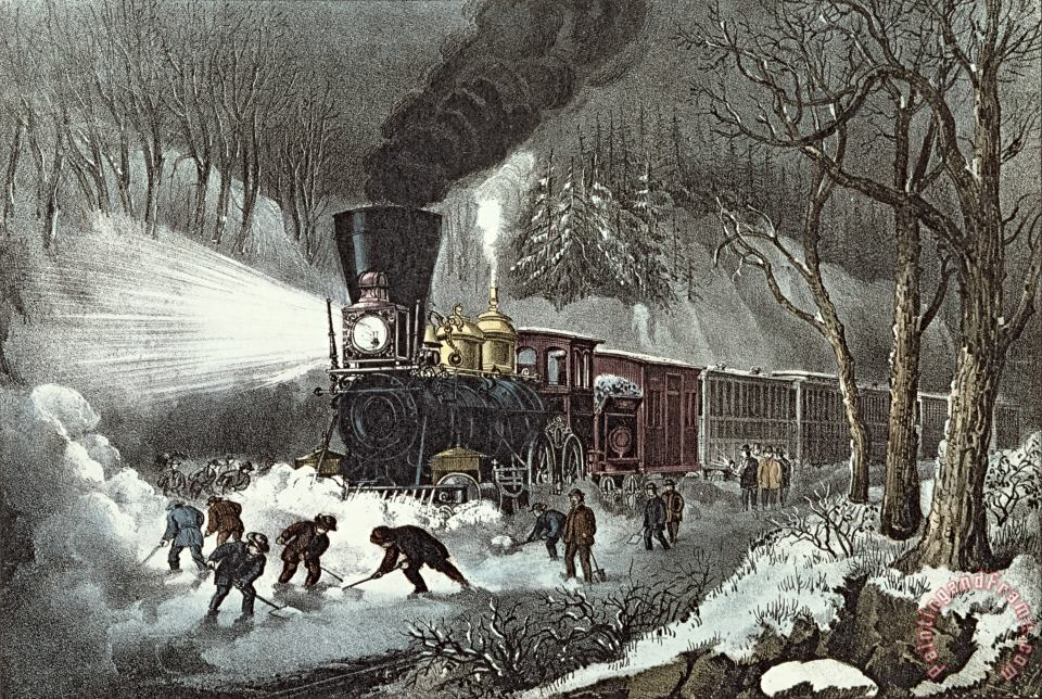 Currier and Ives painting - American Railroad Scene Currier and Ives Art Print