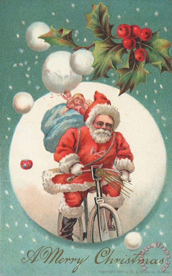 American Christmas Card With A Cycling Father Christmas With His Sack Of Gifts painting - American School American Christmas Card With A Cycling Father Christmas With His Sack Of Gifts Art Print
