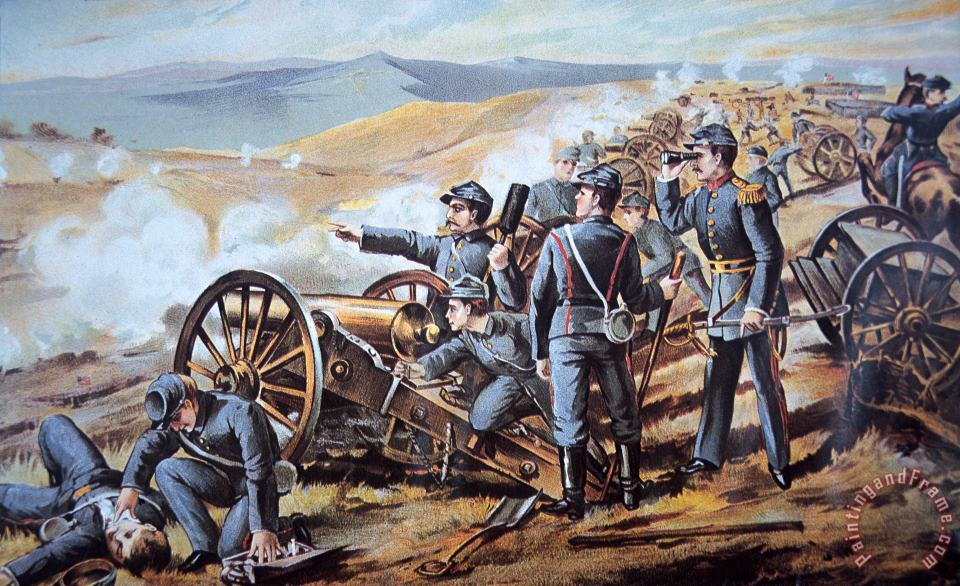 Federal field artillery in action during the American Civil War painting - American School Federal field artillery in action during the American Civil War Art Print