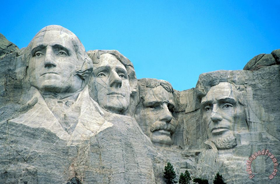 Mount Rushmore painting - American School Mount Rushmore Art Print