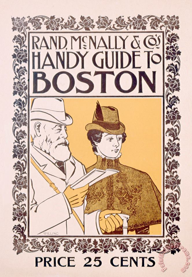 Poster Advertising Rand Mcnally And Co's Hand Guide To Boston painting - American School Poster Advertising Rand Mcnally And Co's Hand Guide To Boston Art Print