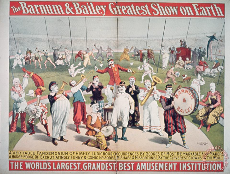 Poster advertising the Barnum and Bailey Greatest Show on Earth painting - American School Poster advertising the Barnum and Bailey Greatest Show on Earth Art Print