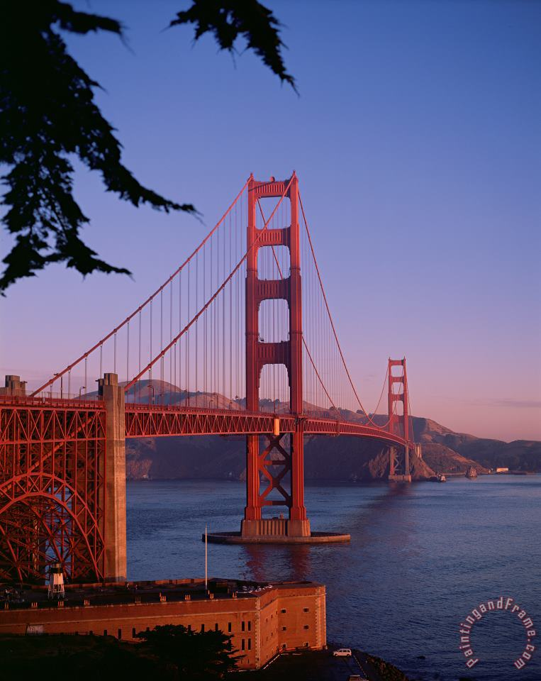 View of the Golden Gate Bridge painting - American School View of the Golden Gate Bridge Art Print