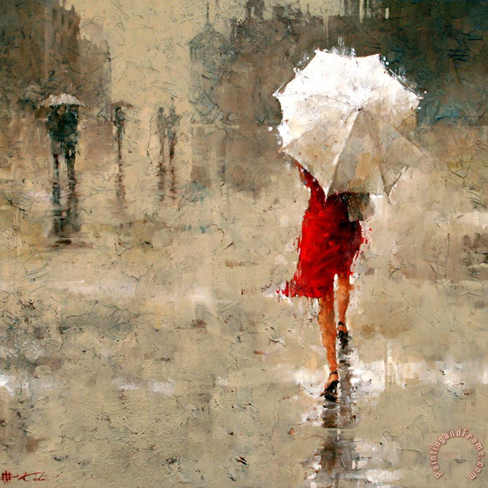 Red And White painting - Andre Kohn Red And White Art Print