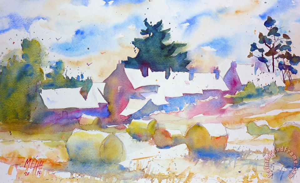 Farms isle of Groix Brittany painting - Andre Mehu Farms isle of Groix Brittany Art Print