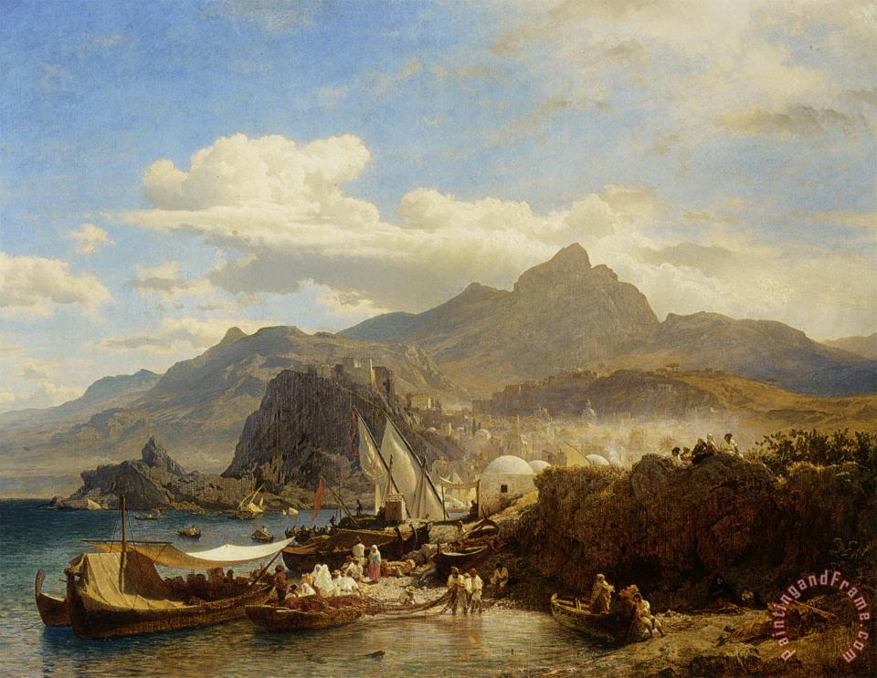 A Busy Town on The Levantine Coast painting - Andreas Achenbach A Busy Town on The Levantine Coast Art Print