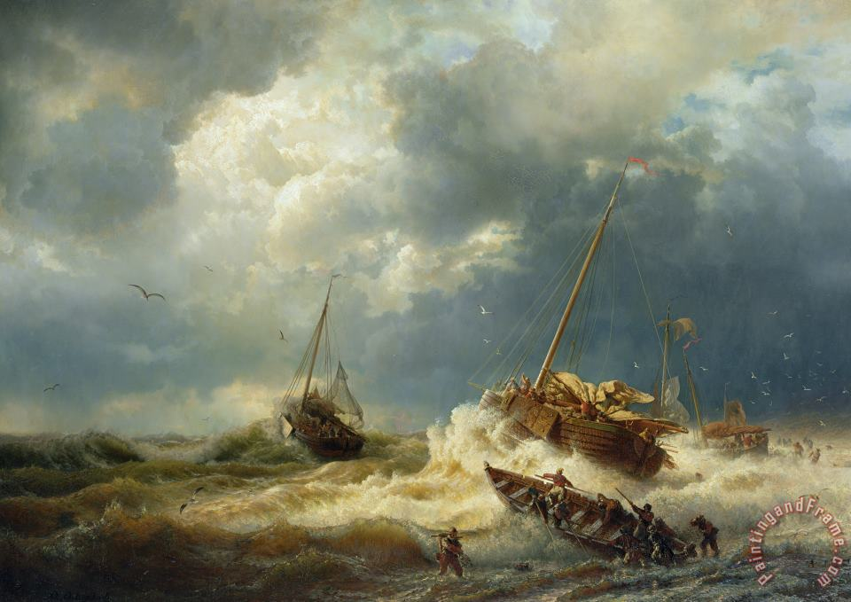 Andreas Achenbach Ships In A Storm On The Dutch Coast Art Painting