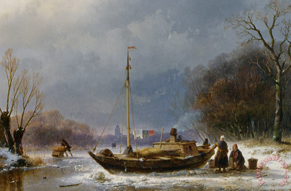A Wintry Scene with Figures Near a Boat on The Ice painting - Andreas Schelfhout A Wintry Scene with Figures Near a Boat on The Ice Art Print