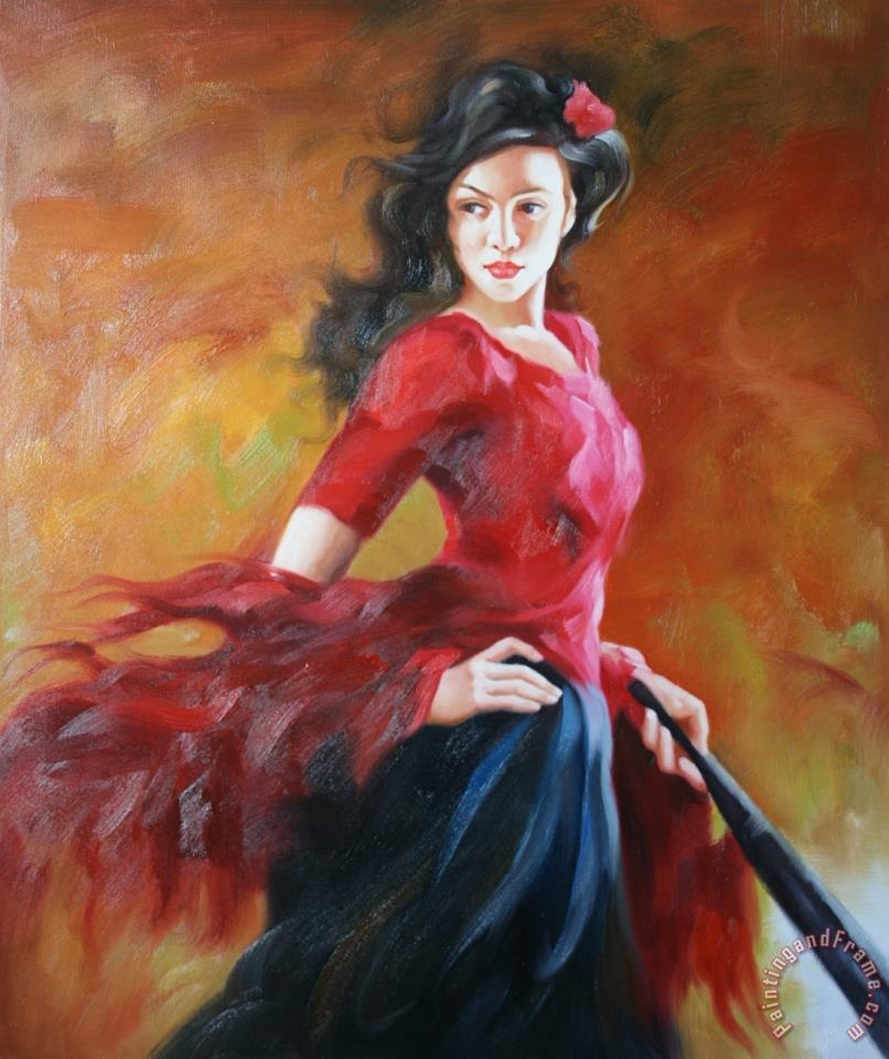 Fan Dancer 2 painting - Andrew Atroshenko Fan Dancer 2 Art Print