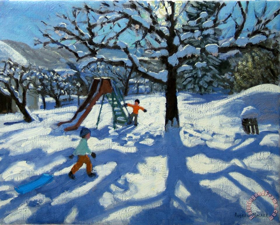 The slide in winter painting - Andrew Macara The slide in winter Art Print