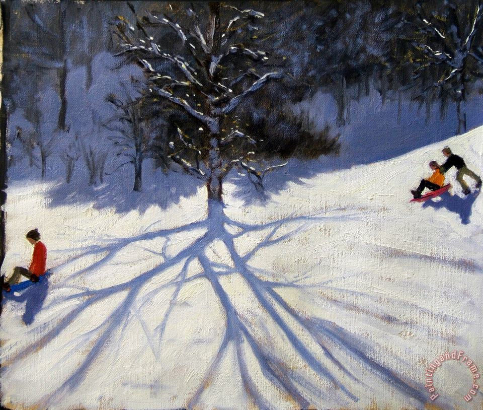 Andrew Macara Tree and two tobogganers Art Print