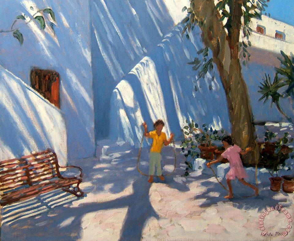 Andrew Macara Two Girls Skipping Mykonos Art Painting