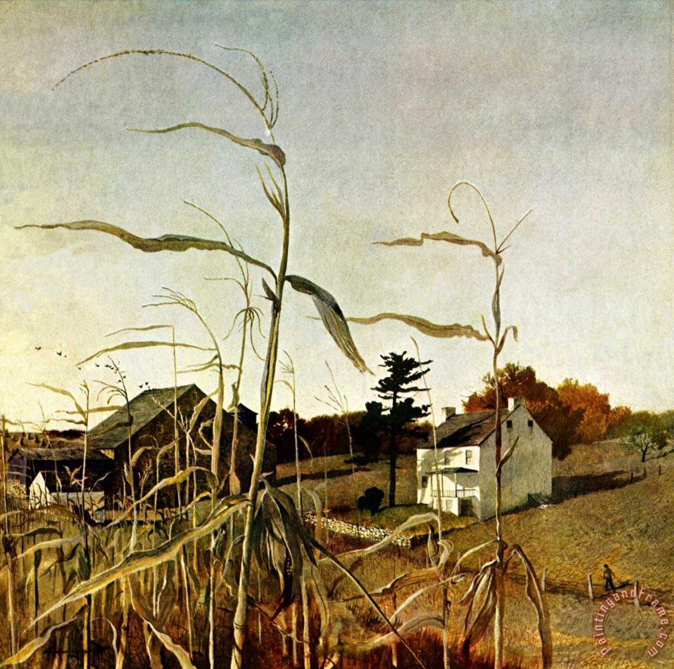 Autumn Cornfield October 1 1950 painting - andrew wyeth Autumn Cornfield October 1 1950 Art Print