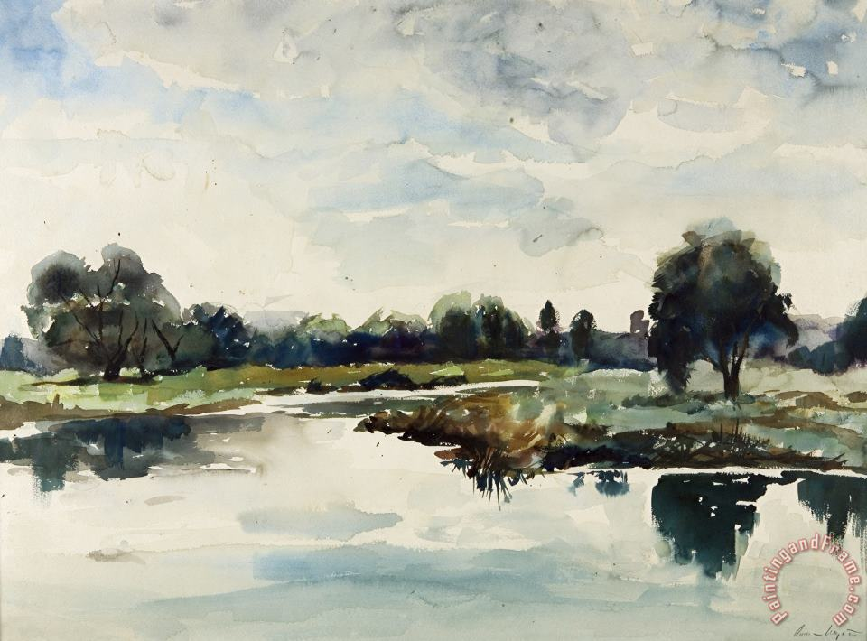 Concord River 1935 painting - andrew wyeth Concord River 1935 Art Print