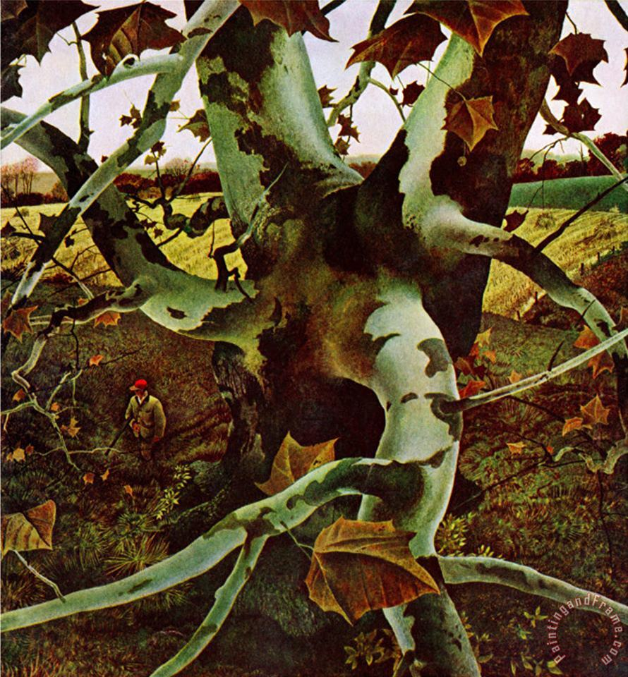 Sycamore Tree And Hunter October 16 1943 painting - andrew wyeth Sycamore Tree And Hunter October 16 1943 Art Print