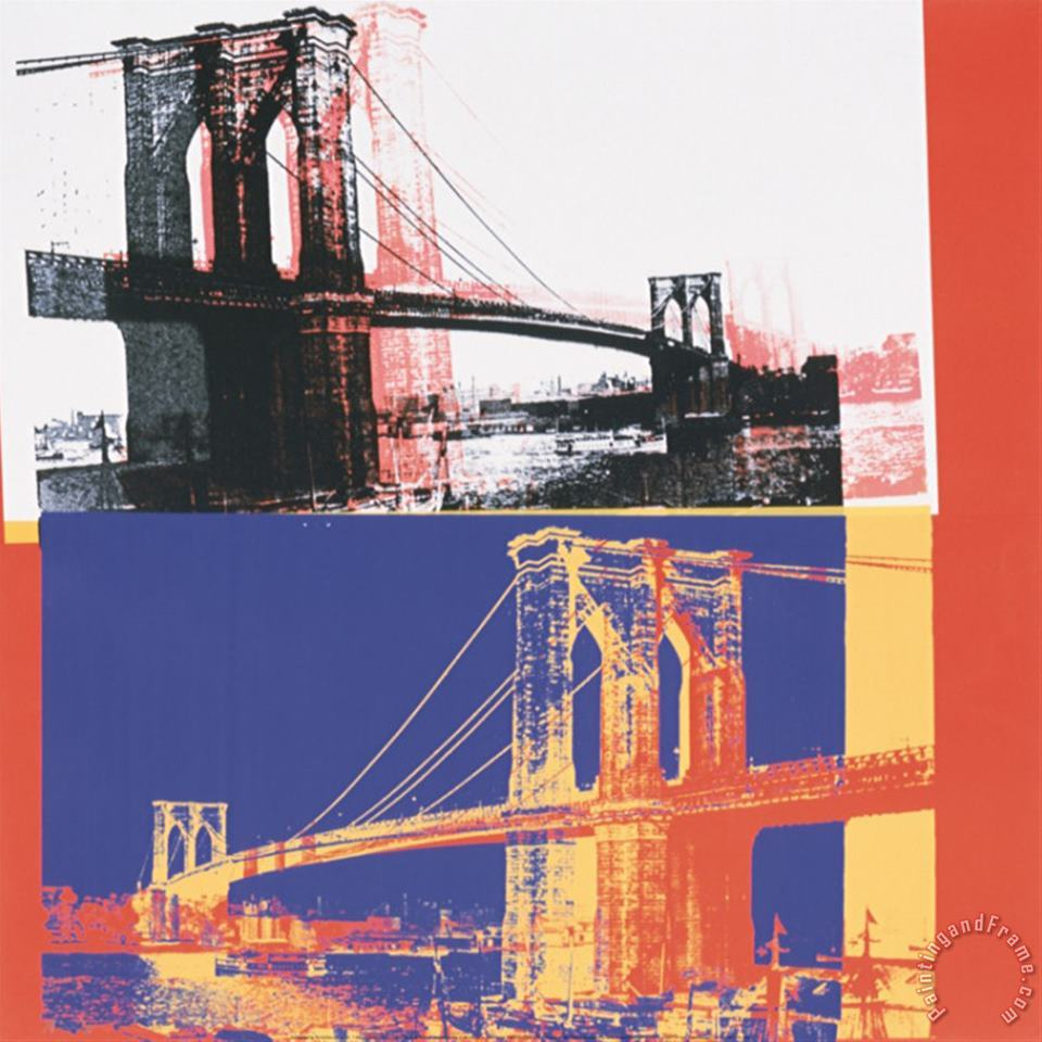 Brooklyn Bridge C 1983 Black Bridge White Background painting - Andy Warhol Brooklyn Bridge C 1983 Black Bridge White Background Art Print
