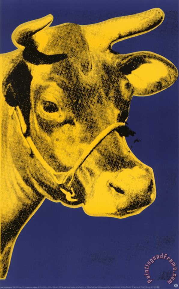 Cow Yellow on Blue Background painting - Andy Warhol Cow Yellow on Blue Background Art Print
