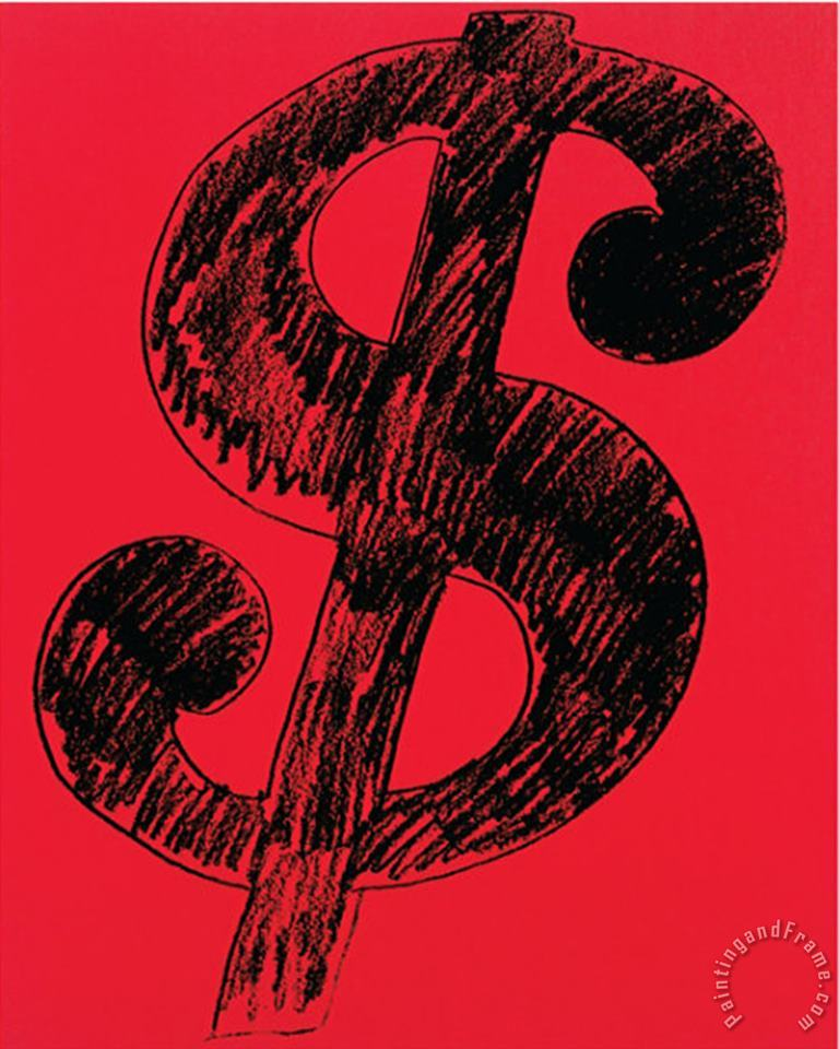 Andy Warhol Dollar Sign C 1981 Black on Red Art Print