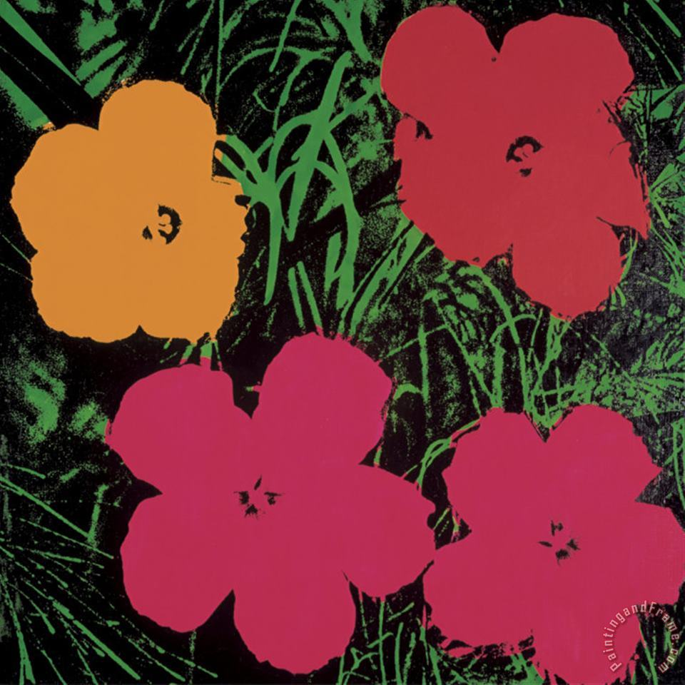 Andy Warhol Flowers 1964 Red Pink And Yellow Art Print