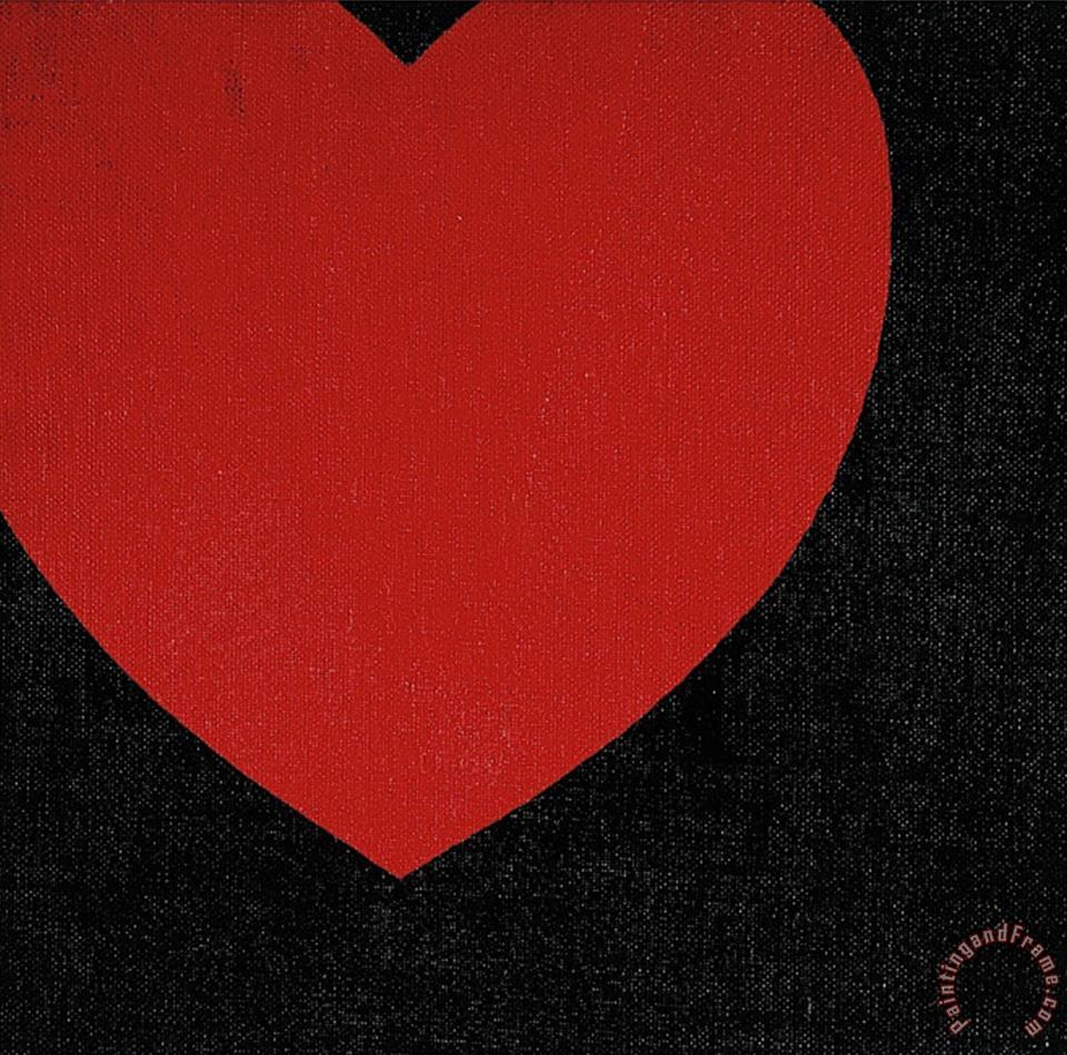 Andy Warhol Heart C 1979 Red on Black Art Print