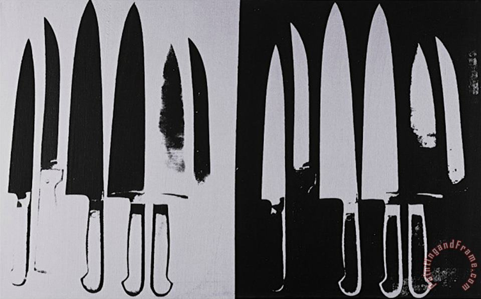 Knives C 1981 82 Silver And Black painting - Andy Warhol Knives C 1981 82 Silver And Black Art Print