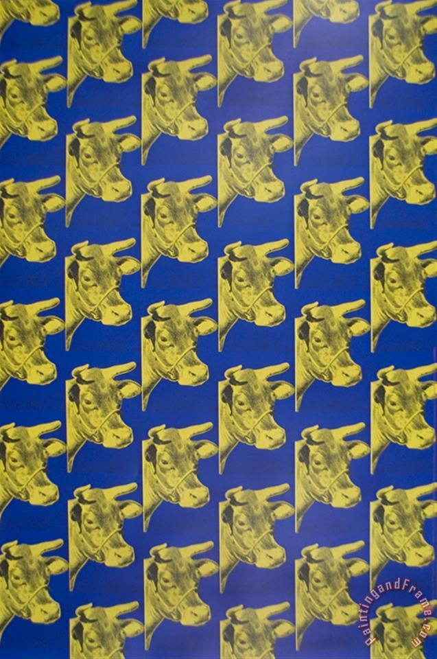 Multiple Cows Blue painting - Andy Warhol Multiple Cows Blue Art Print