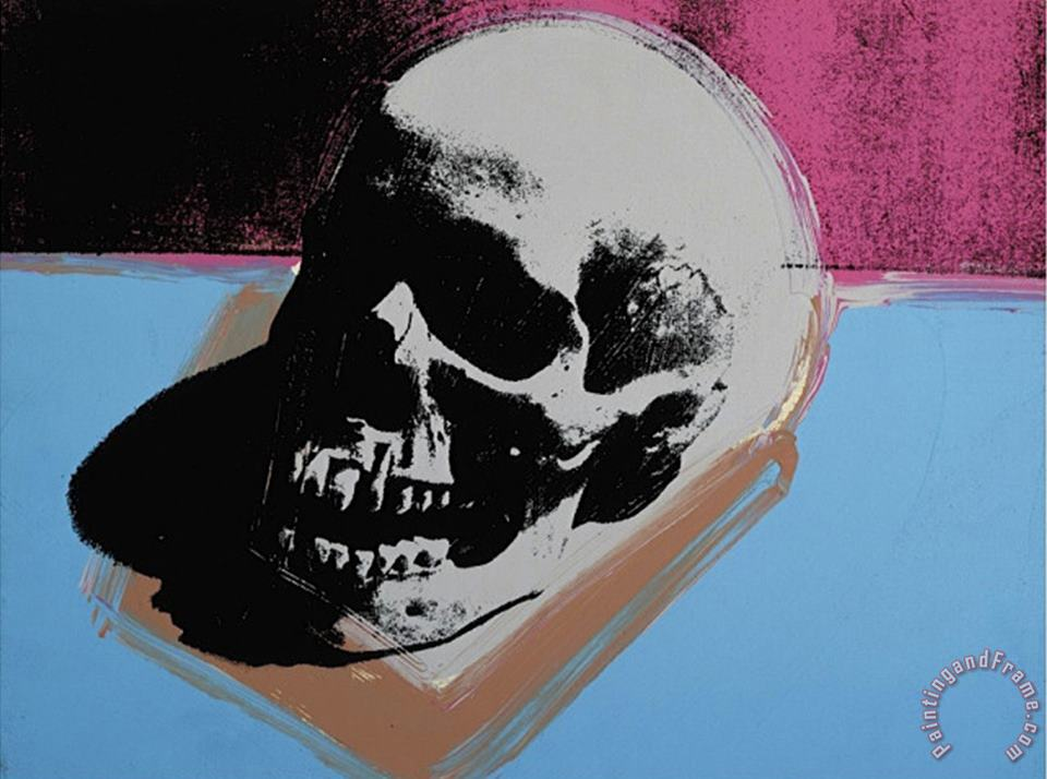 Skull C 1976 White on Blue And Pink painting - Andy Warhol Skull C 1976 White on Blue And Pink Art Print