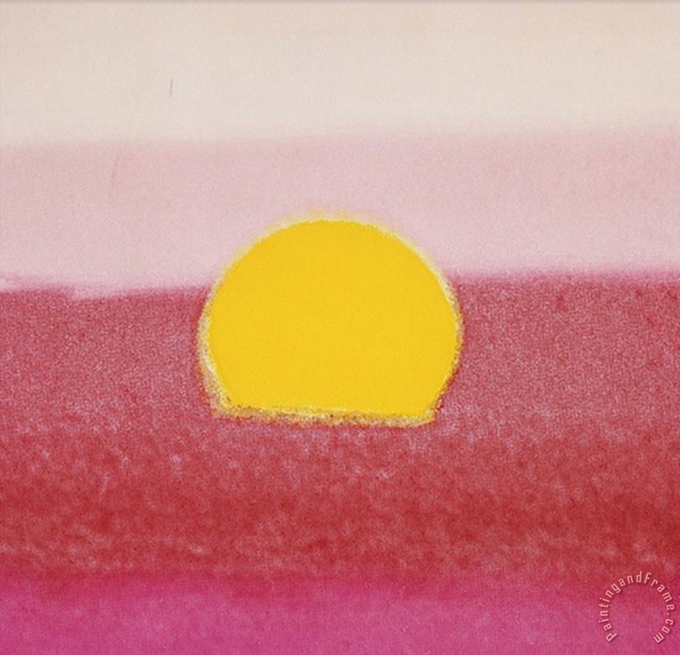 Sunset C 1972 Hot Pink Pink Yellow painting - Andy Warhol Sunset C 1972 Hot Pink Pink Yellow Art Print