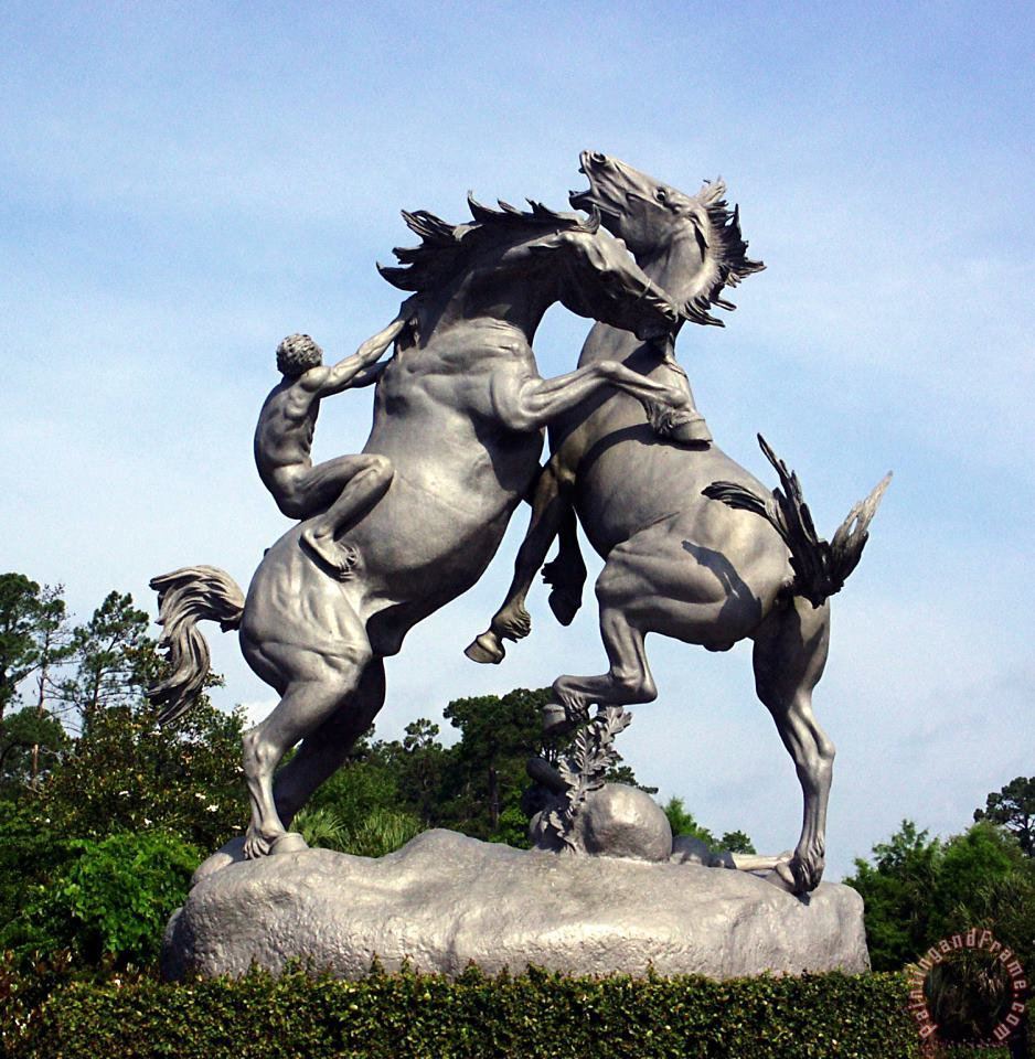 The Fighting Stallions painting - Anna Vaughan Hyatt Huntington The Fighting Stallions Art Print