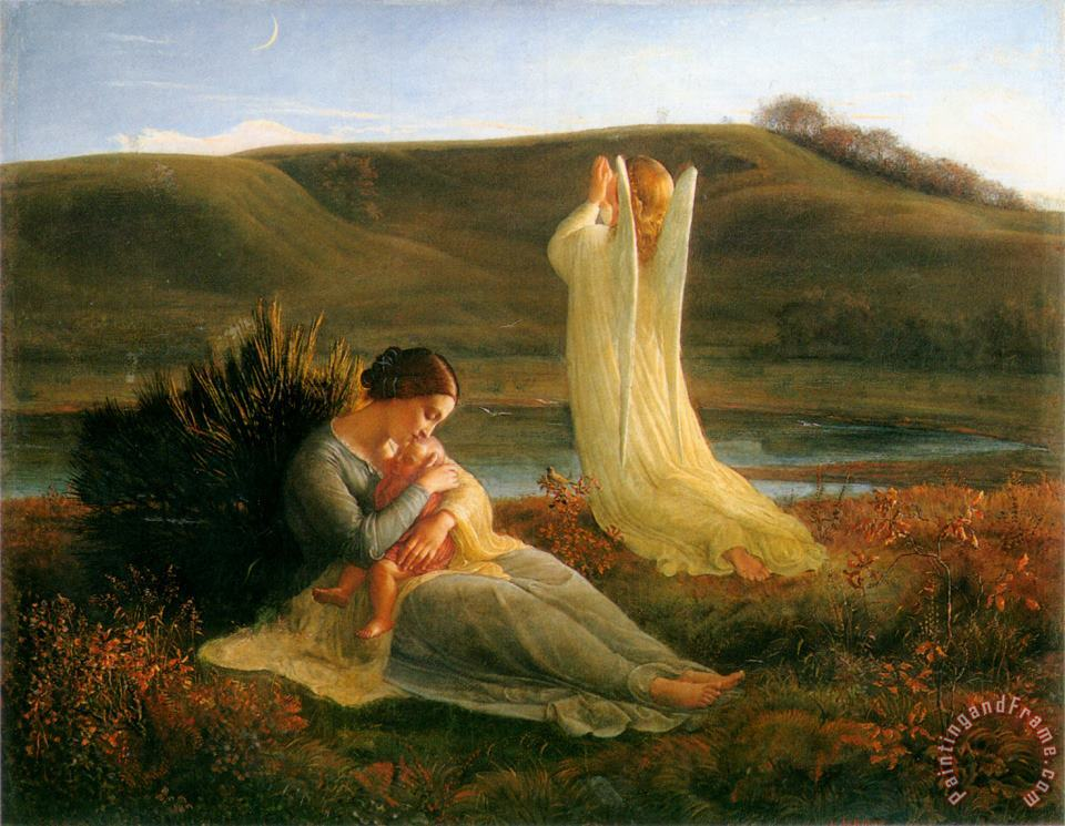 The Poem of The Soul The Angel And The Mother painting - Anne Francois Louis Janmot The Poem of The Soul The Angel And The Mother Art Print