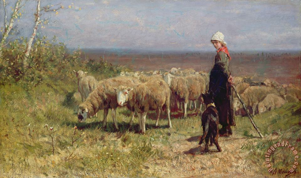 Anton Mauve Shepherdess Art Painting